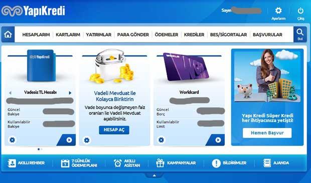 Yapı kredi Bankası İnternet Bankacılığı