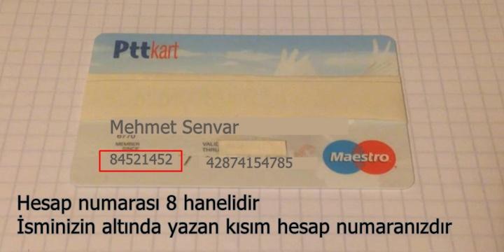 PTT kart hesap numarası sorgulama